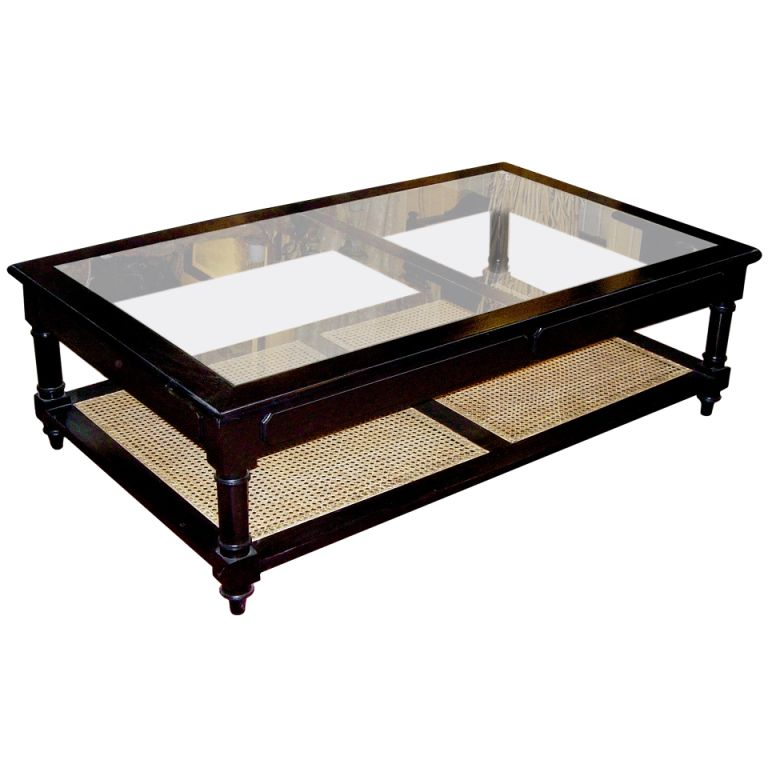 Anglo Indian Style Ebonized Wood Gl And Cane Coffee Table