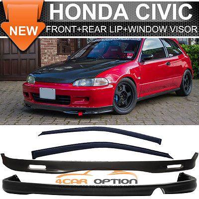 Fits 92 95 Civic 2dr Spoon Style Front Rear Bumper Lip Sun Window Visors Ebay In 2021 Honda Civic Honda Civic New Civic