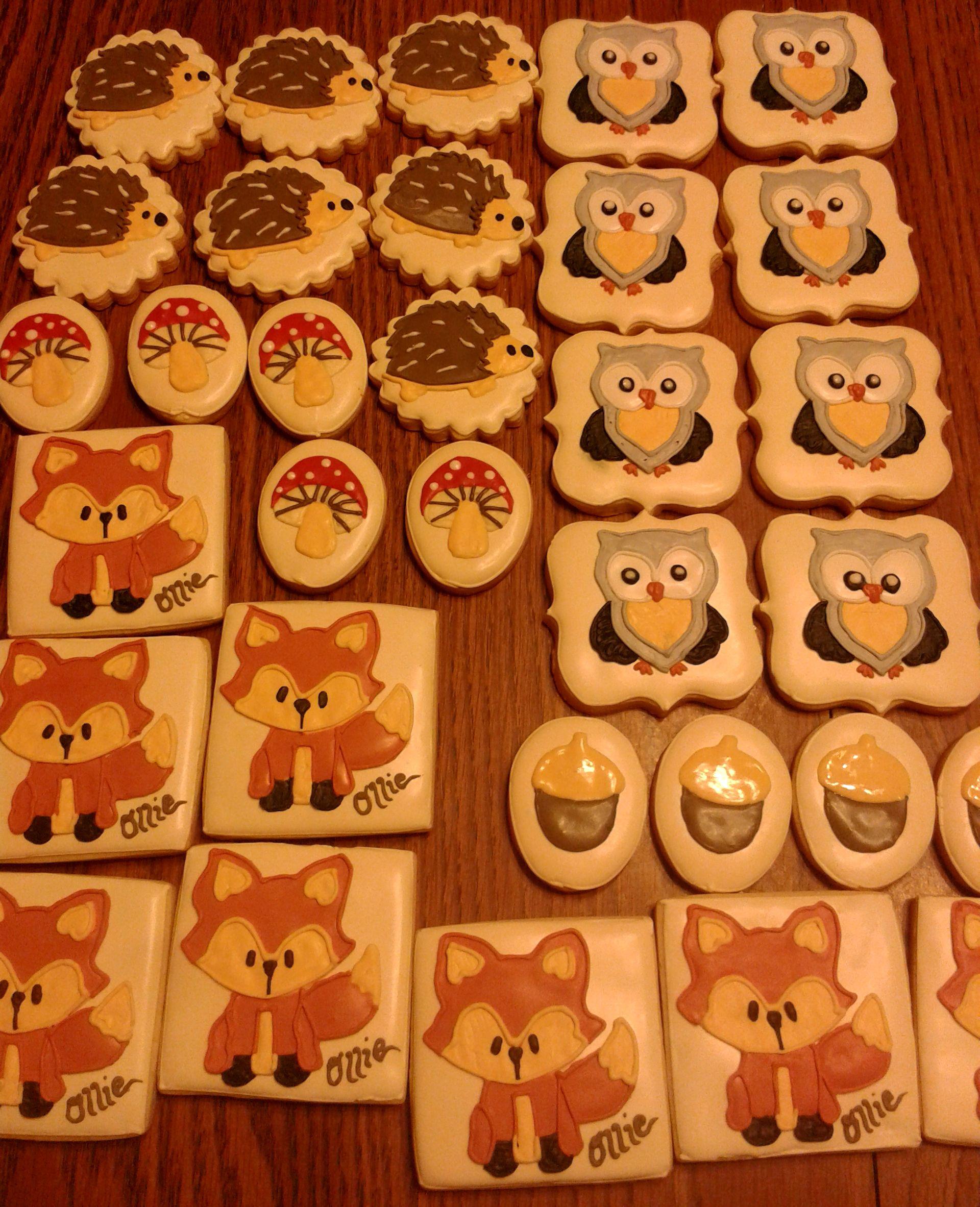 Woodland Animal/Creature Cookies. Foxes, owls, hedgehogs, mushrooms, and acorns.