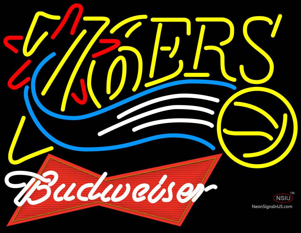 Budweiser Logo Philadelphia 7ers NBA Real Neon Glass Tube Neon Sign,Affordable and durable,Made in USA,if you want to get it ,please click the visit button or go to my website,you can get everything neon from us. based in CA USA, free shipping and 1 year warranty , 24/7 service