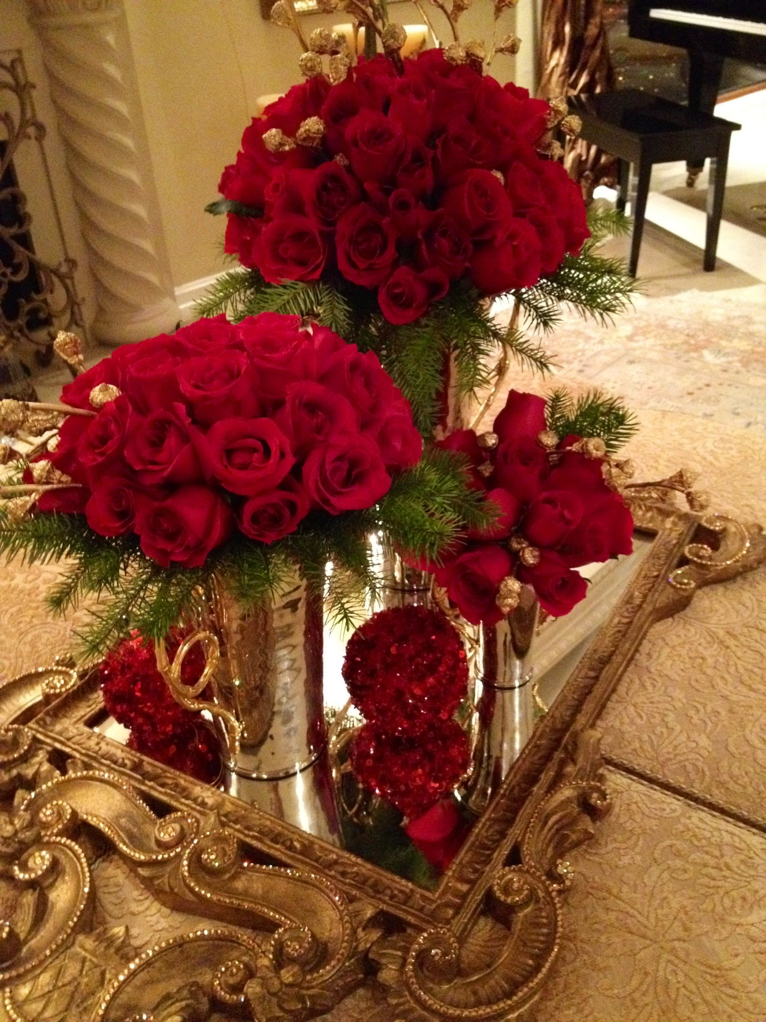 Red and Gold by Dezign Shop Floral arrangements Wedding