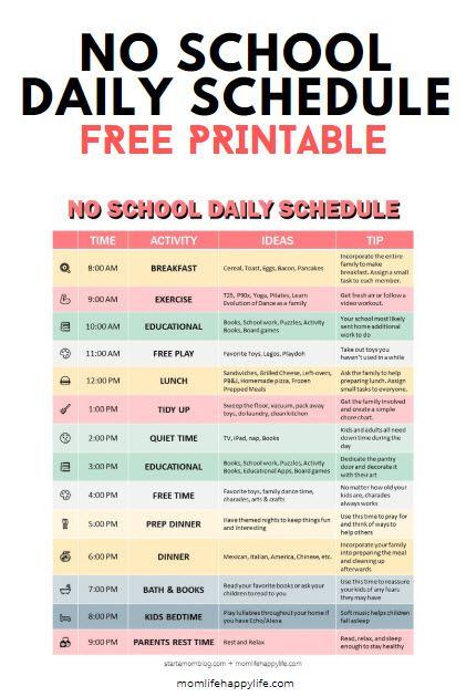 Daily Schedule for Stay at home moms
