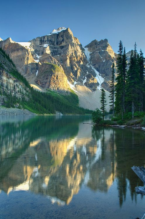 Wenkchemna Peaks above Moraine Lake , mid-morning. Banff