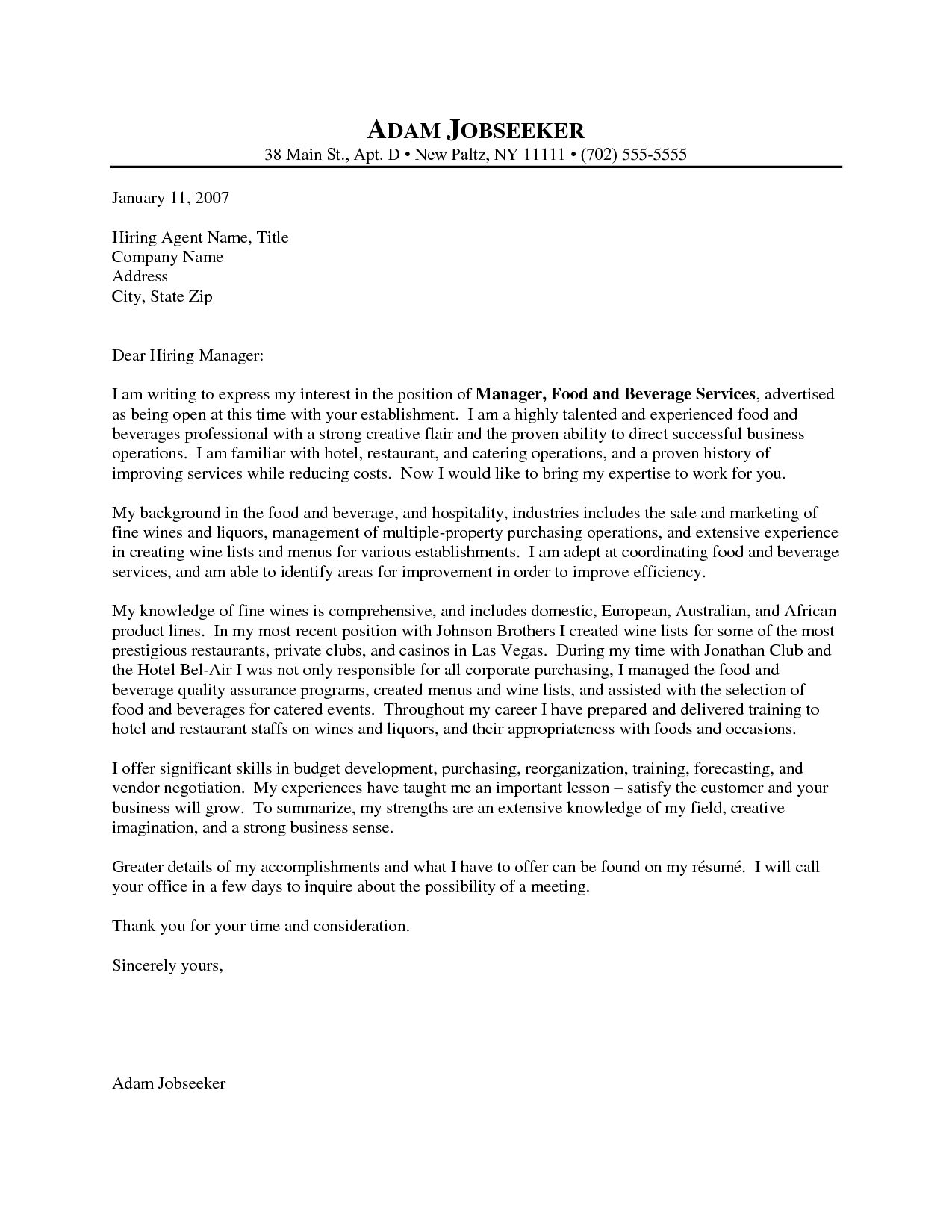 27 Cover Letter For Food Service Cover Letter For Resume Resume Cover Letter Examples Manager Resume