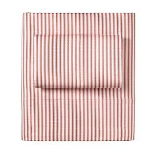 Ticking Stripe Sheet Set – Barn Red - Serena & Lily - $110.00 - domino.com