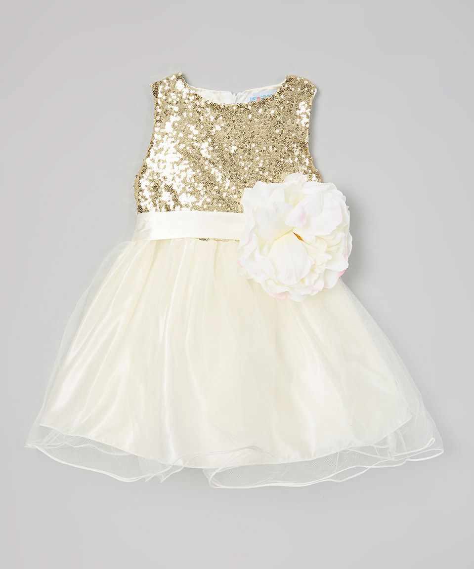 3fe47e6ed Just Couture Ivory   Gold Sequin Flower Girl Dress - Infant