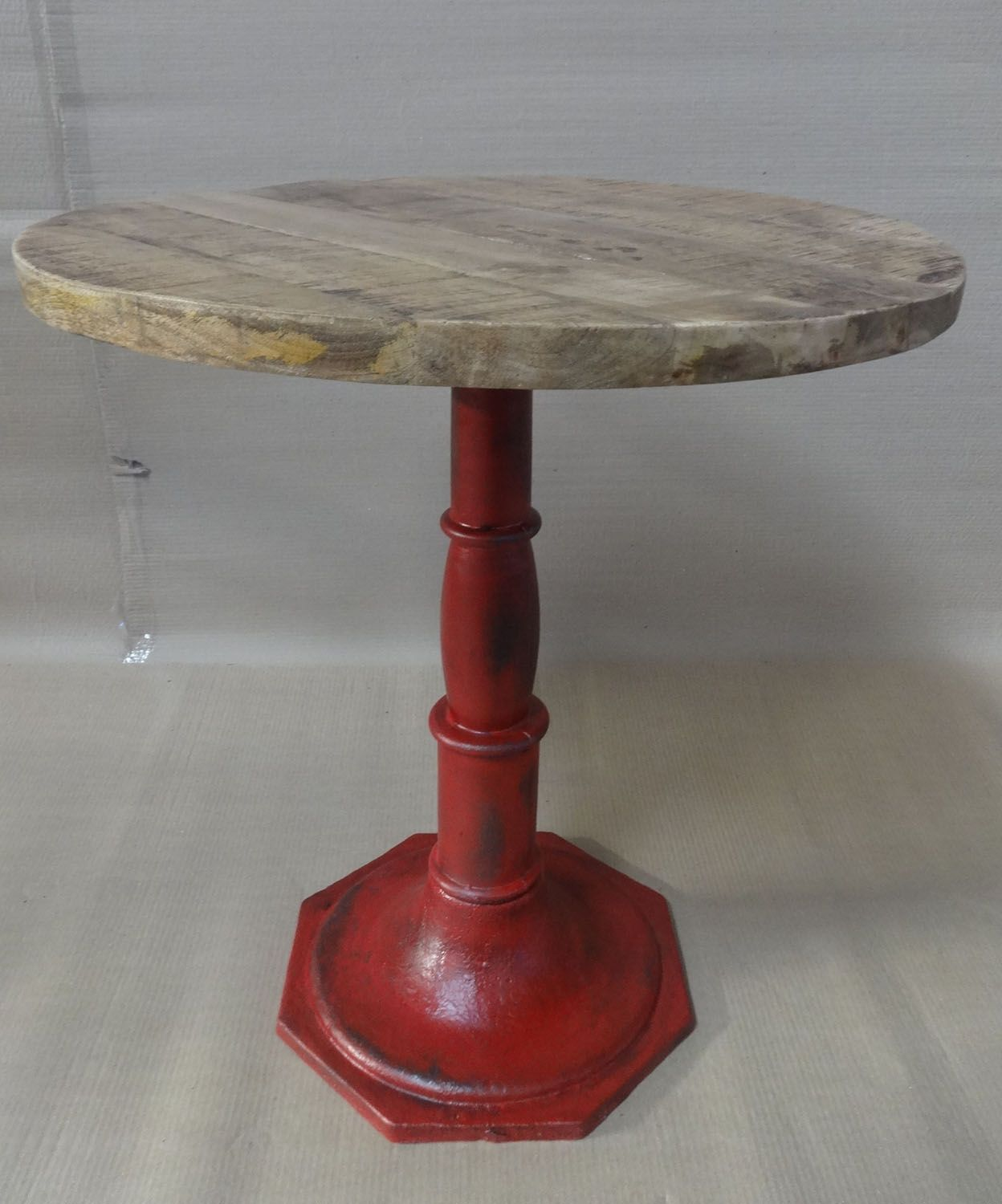 cast iron base antique red patina rough mango top industrial