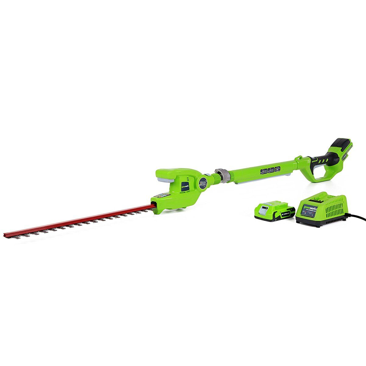 Greenworks 22242 24v 20 Inch Cordless Pole Hedge Trimmer 2ah Battery And Charger Included Hedge Trimmers Hedges Trimmers