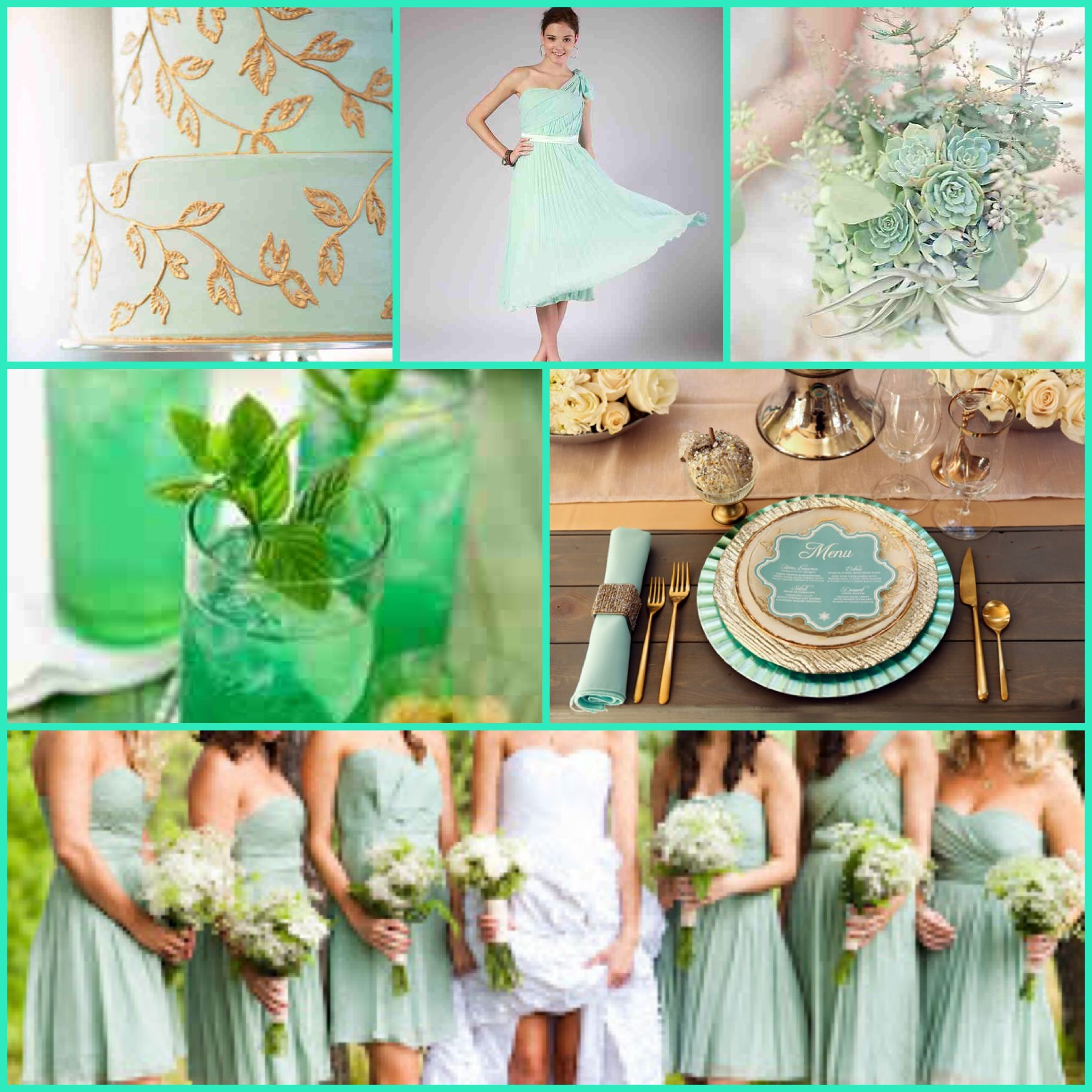 Mint and gold wedding ideas (: