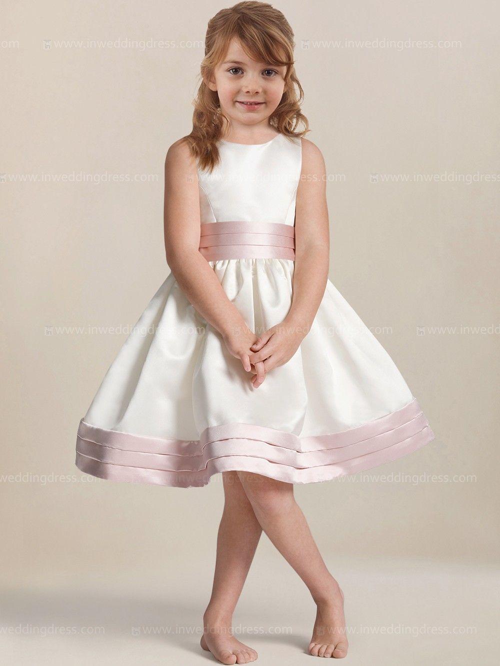 Satin Knee Length Flower Girl Dress Fl057 Cheapest Flowers Flower