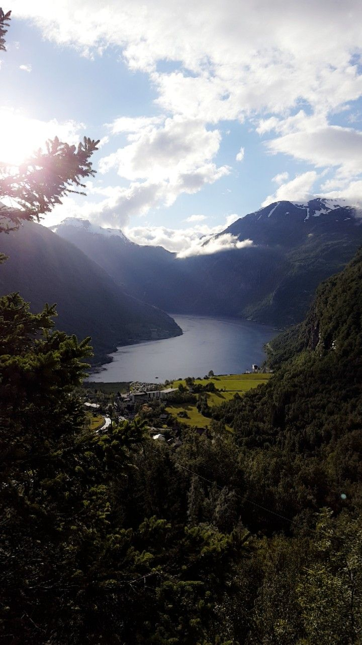 View over Geiranger seen from Utsikten Hotel