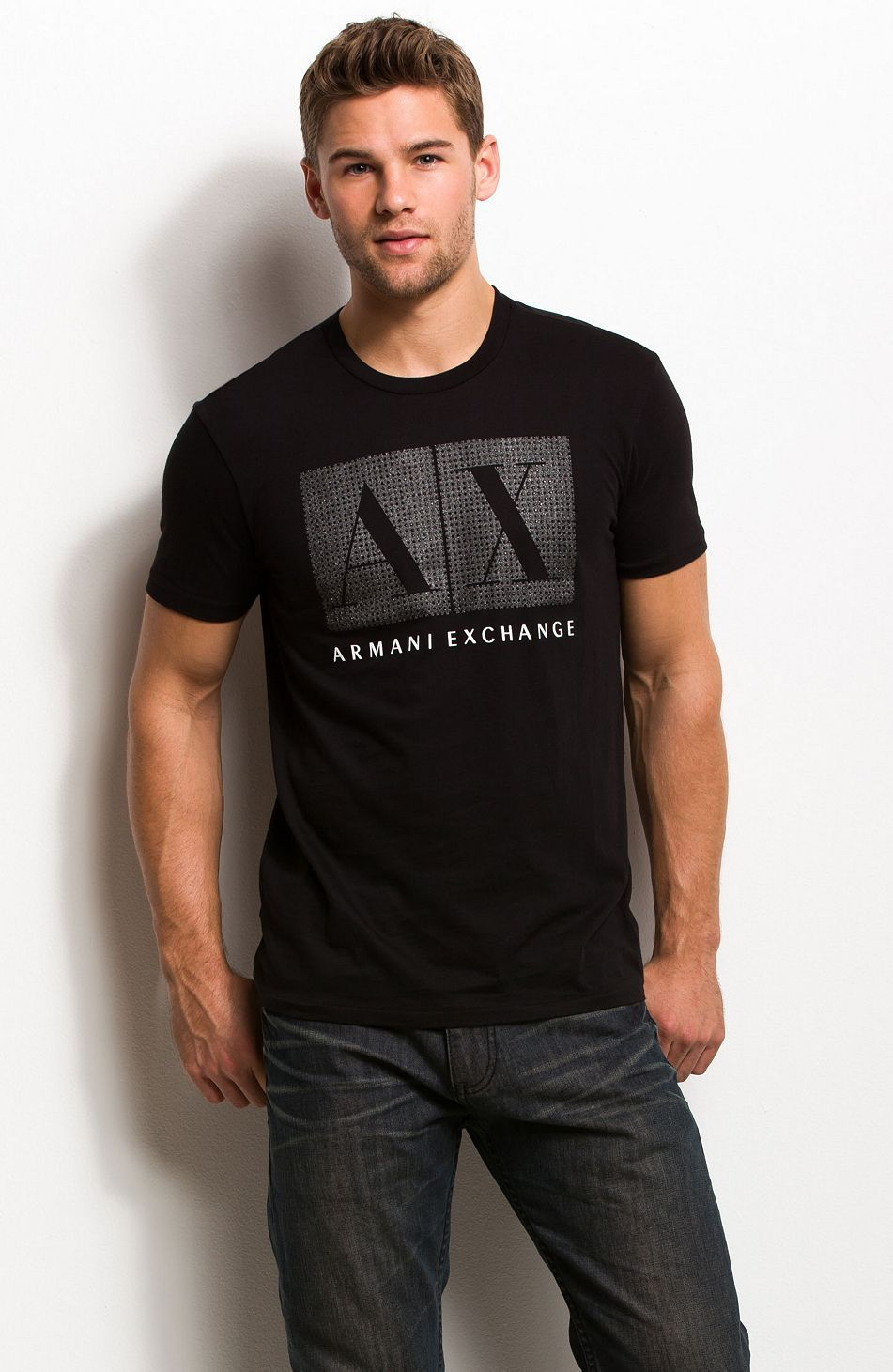 f88f3079638 Rhinestone Box Logo Tee - Tee Shirts - Mens - Armani Exchange