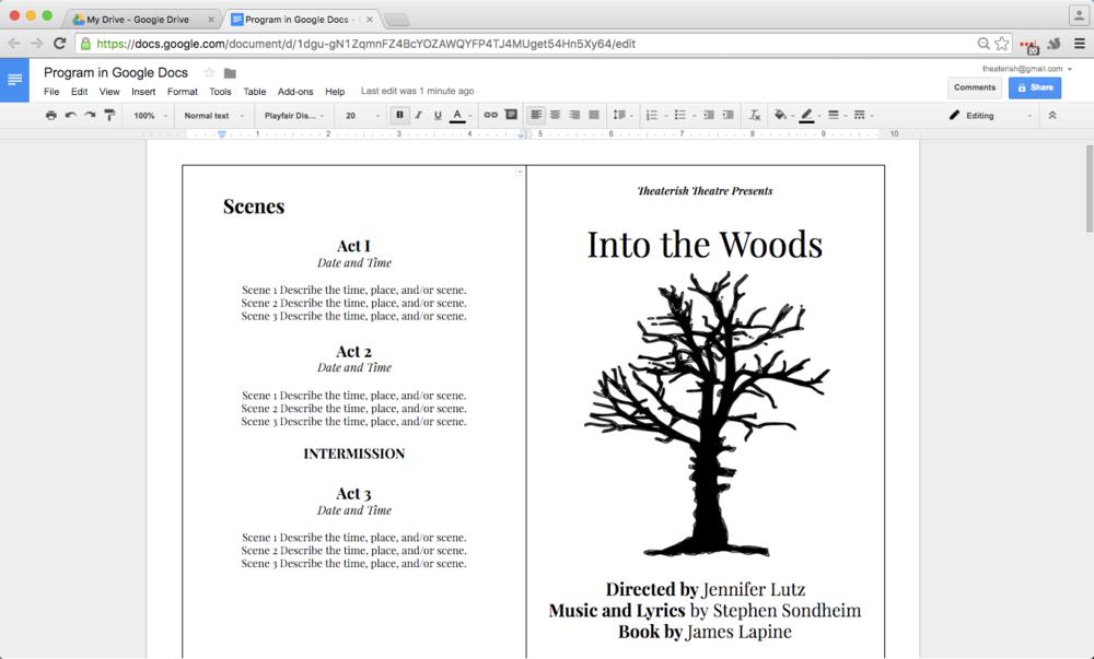 How to Create a Show Program in Google Docs Google docs