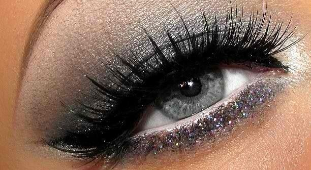 Silver Grey Eye Makeup Silver Glitter Lower Lash Line