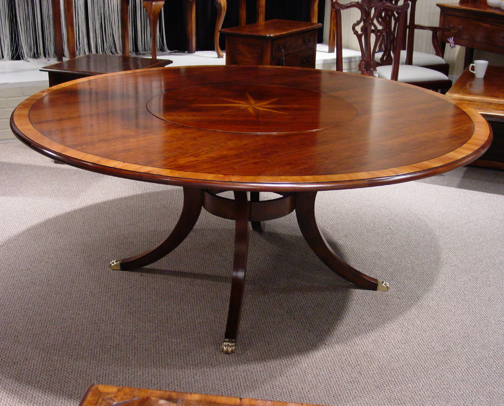 Mid Cherry Yew Wood Banded 72 Round Table With Starburst Inlay Flush Lazy Susan Round Pedestal Dining Table Oak Farmhouse Table Pedestal Dining Table