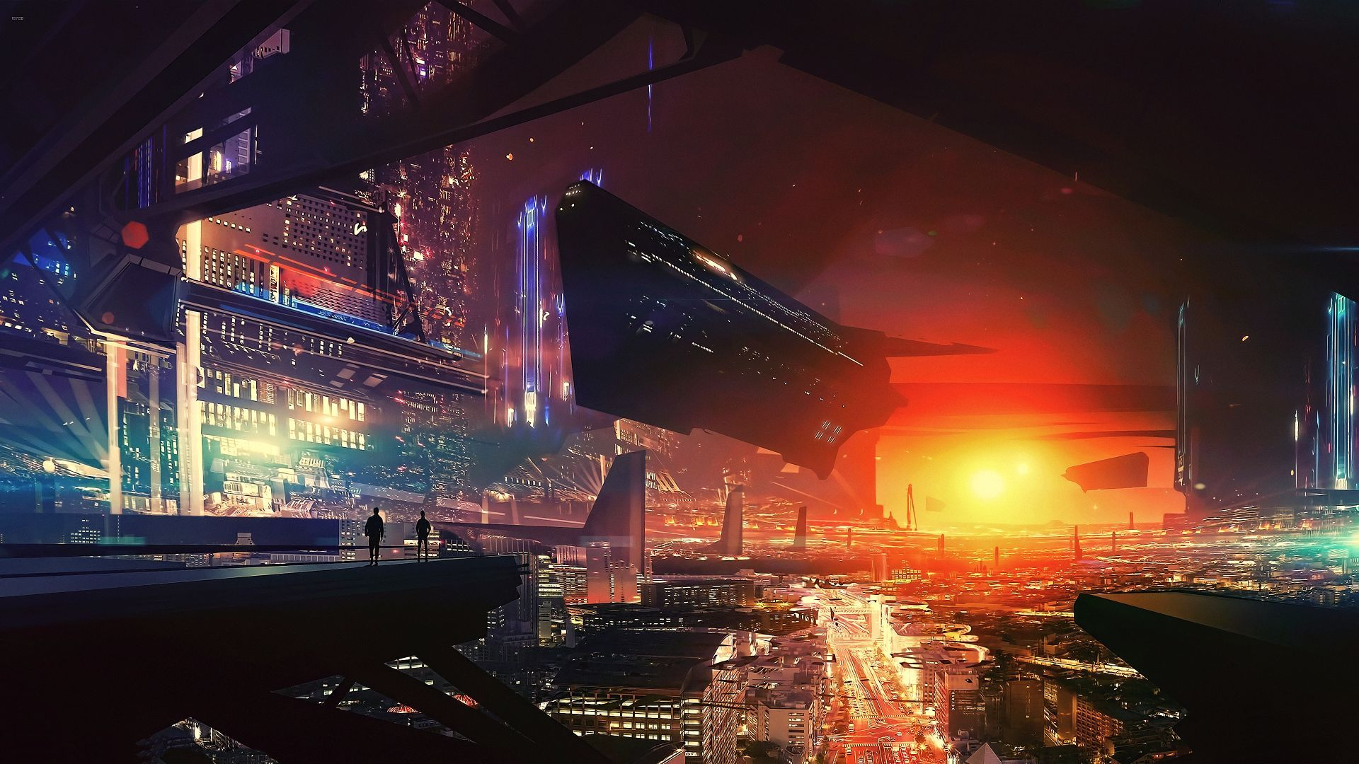 Wallpaper Spaceship Cyberpunk Futuristic City 4k Art 20323 Futuristic City World Wallpaper Digital Wallpaper