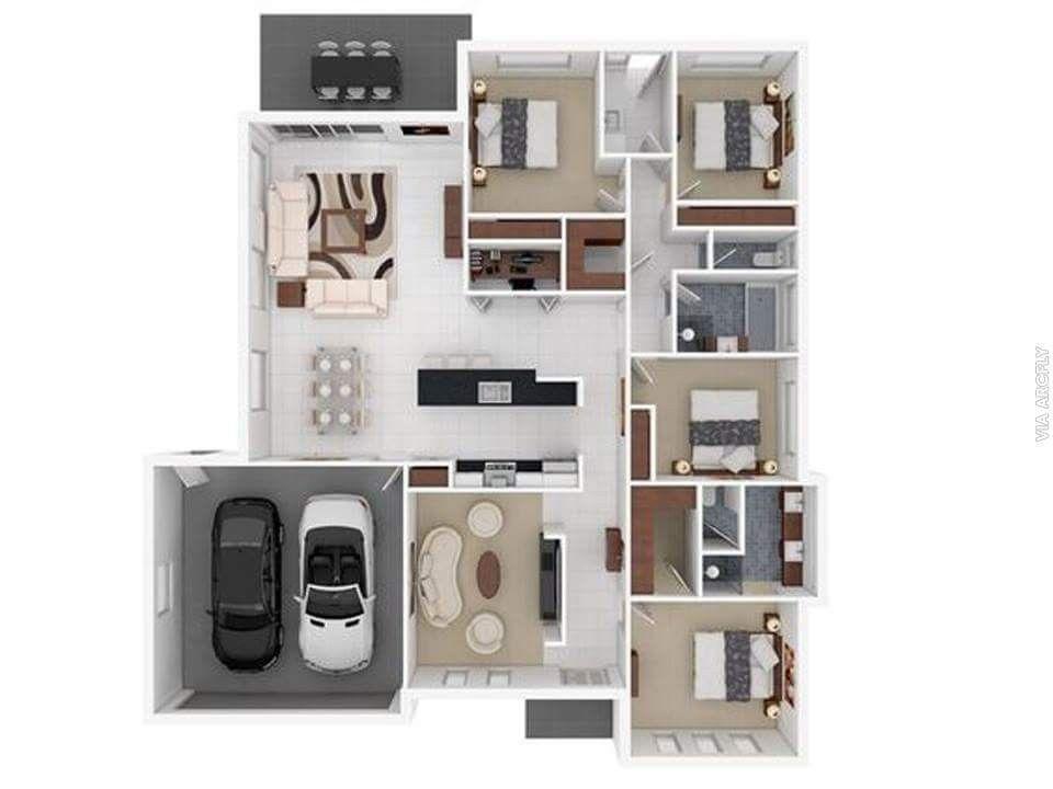 Moderne häuser grundriss 3d  Pin von serhat musul auf 3D kat planı | Pinterest