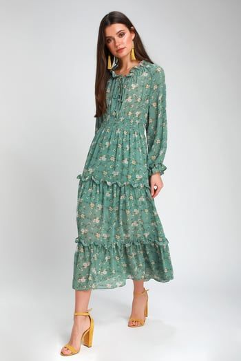 Cute Floral Dresses and Printed Party Attire   Latest Styles of Women's Floral-Print Dresses at Great Prices #sagegreendress