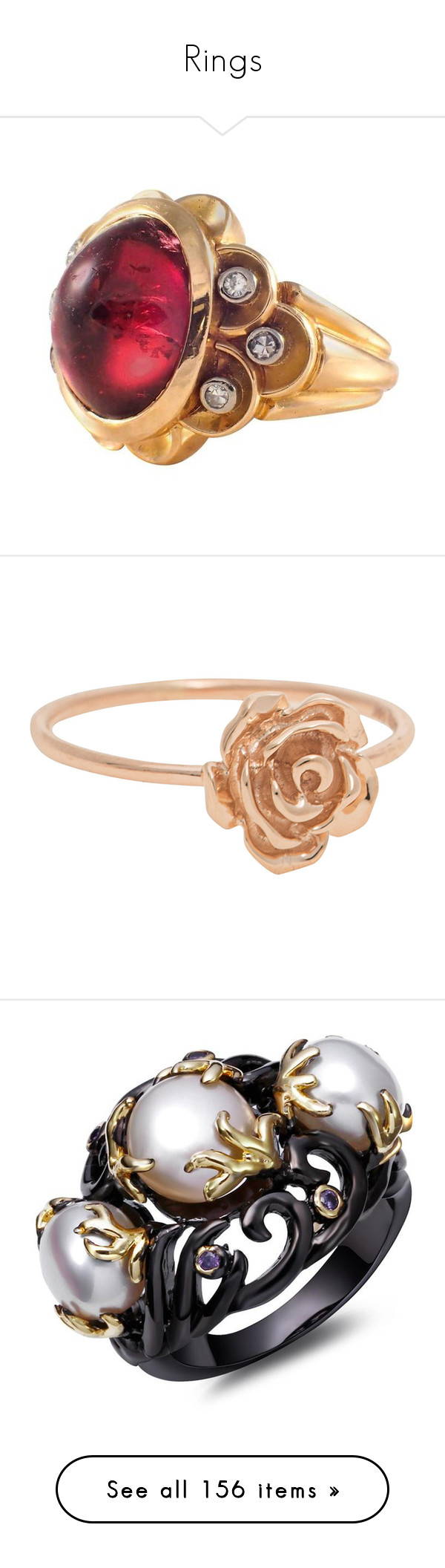 """Rings"" by badstan ❤ liked on Polyvore featuring jewelry, rings, 18k gold jewelry, retro rings, cabochon ring, 18 karat gold ring, oval cut diamond ring, rose jewellery, rose gold heart ring and filigree jewelry"