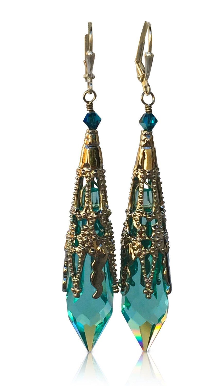 Aqua Blue Icicle Crystal Silvertone Filigree Pendant Earrings, Neo  Victorian Gothic Crystal Earrings
