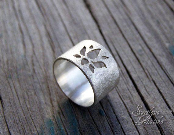 Silver lotus ring lotus flower ring lotus ring sterling silver silver lotus ring silver lotus band yoga ring lotus flower band yoga mightylinksfo