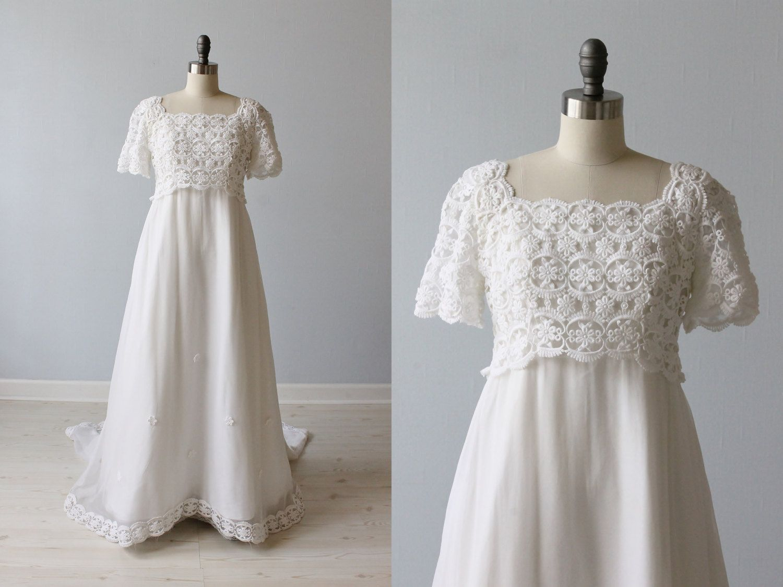 1960s Wedding Dress / Empire Waist / Sheath / Chapel Train