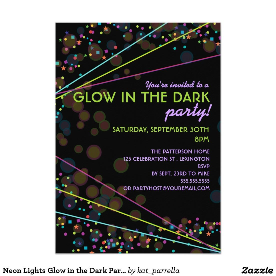 Neon Lights Glow In The Dark Party Invitation