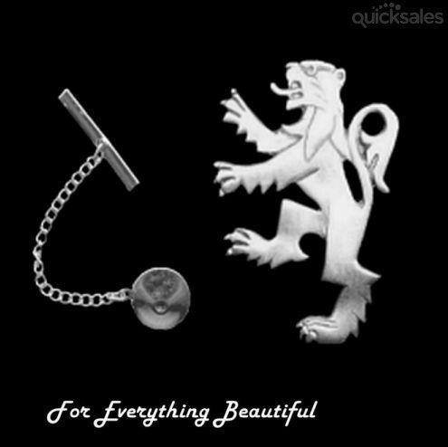 Rampant Lion Design Antiqued Mens Sterling Silver Tie Tack  by JB7339 - $60.00