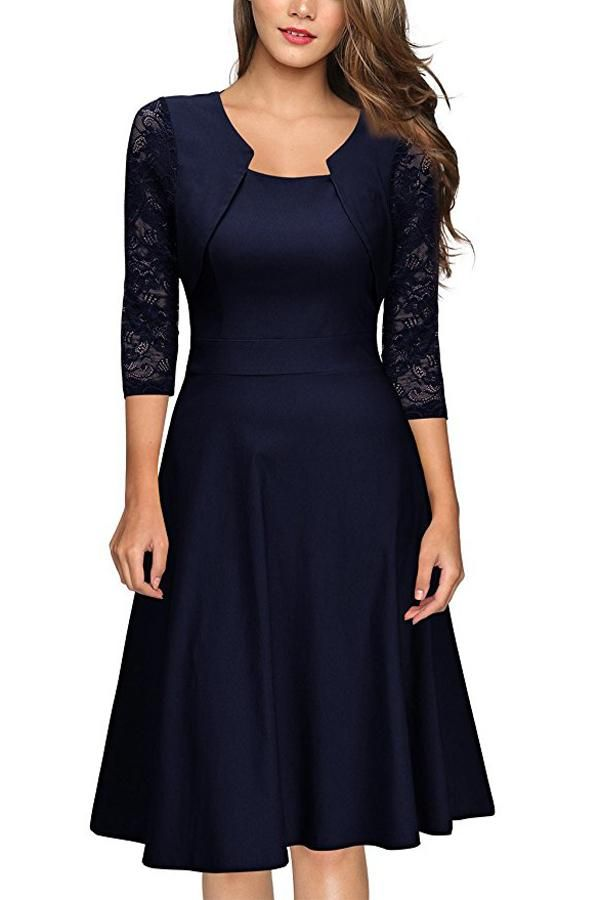 Dark Navy A Line Knee Length Half Sleeve Zipper Back Lace Mother of the  Bride Dresses M19 c89f9aea0