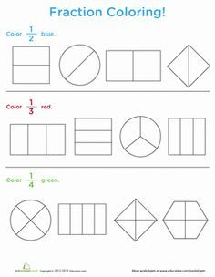 Fraction Coloring | Worksheets, Math and School