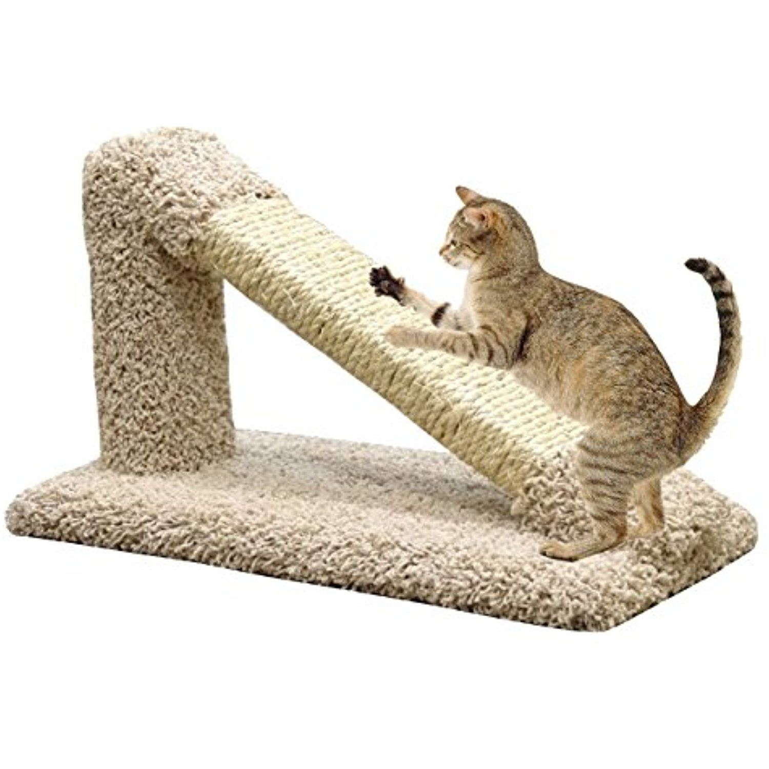 USA Made Angled Cat Scratching Post Sisal in Beige Carpet