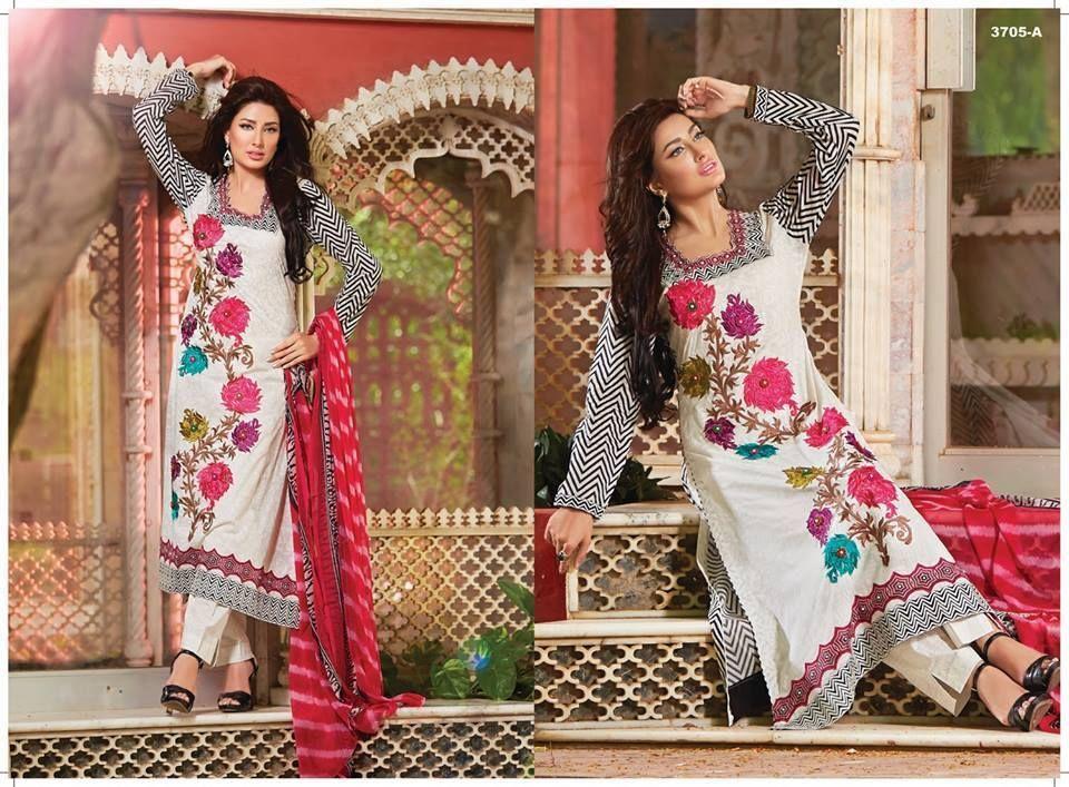 4be0e0216b Pakistani Designer Tawakkal Fabrics Semi Stitched Emb Shalwar Kameez Lawn  Cotton