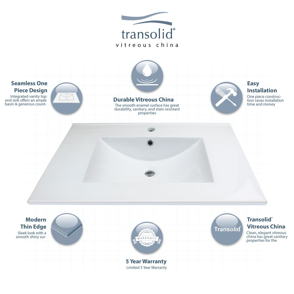 Transolid Juliette 37 In Vitreous China Vanity Top With Integrated
