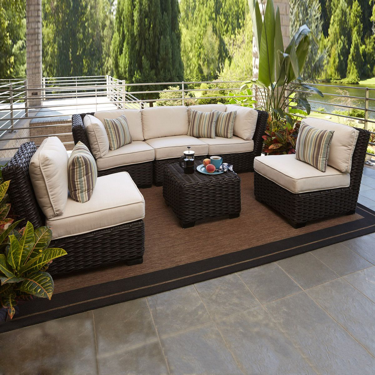 Allen Roth Blaney 6 Piece Outdoor Conversation Set 3