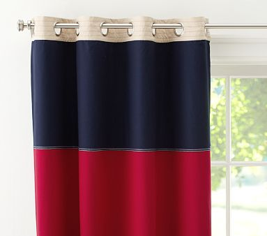 Rugby Blackout Curtain Blackout Panels Pottery Barn Kids Red