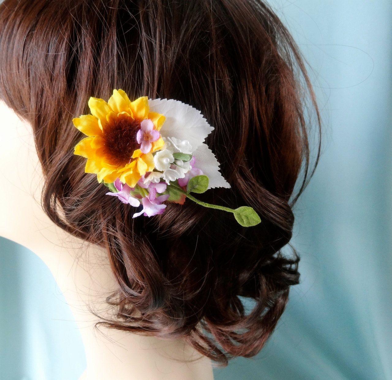 small sunflower hair clip, bridal hair accessory, yellow flower girl accessories - HONEYBEE - wildflower rustic wedding, purple flower. $40.00, via Etsy.