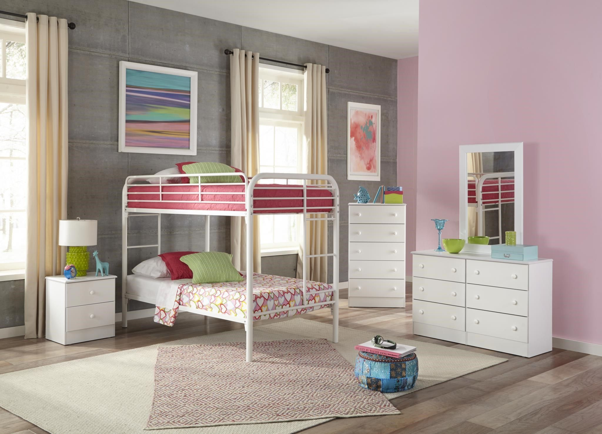 Bunkbeds White Twin Over Twin Metal Bunkbed By Kith Furniture Kids