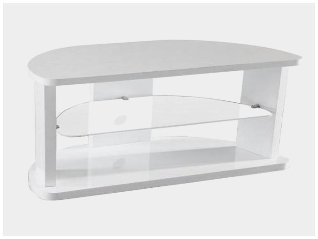 beau meuble tv angle blanc laque