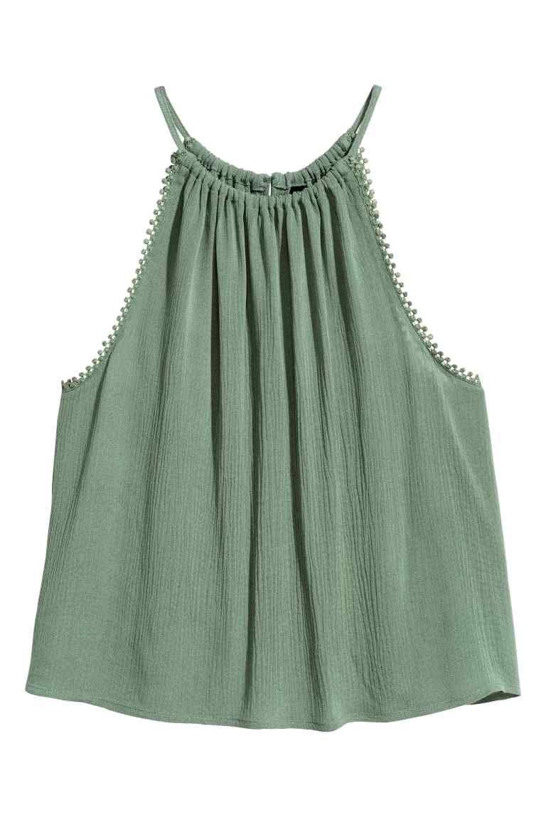 Top arrugado - Verde caqui - MUJER | H&M ES
