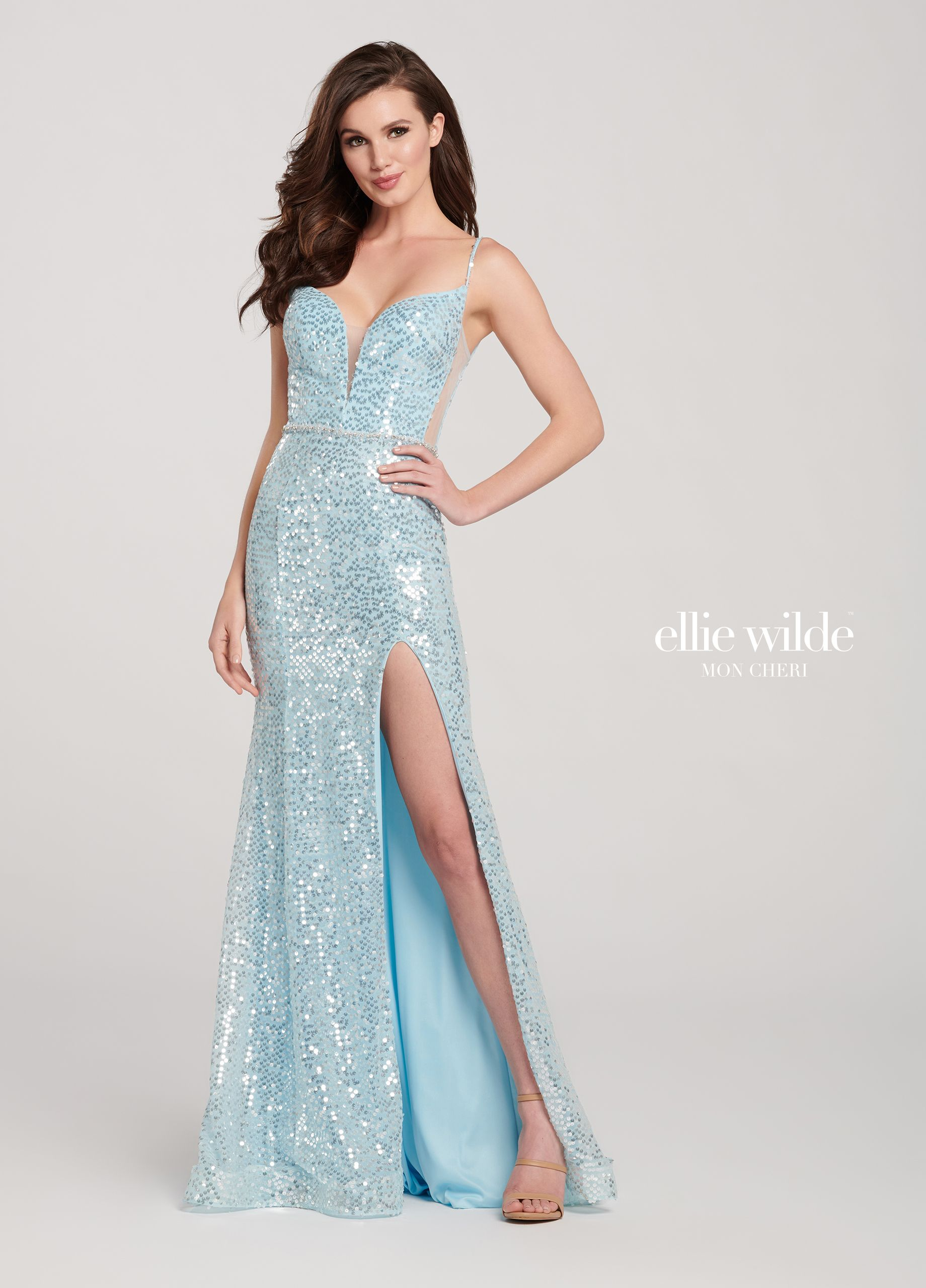 ed4c4d20887 Allover Sequin Fit   Flare Prom Dress with a Corset Back- EW119059 ...