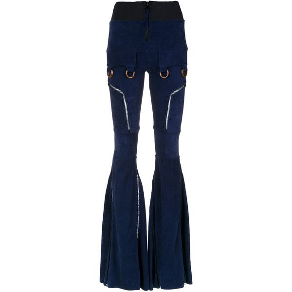 Andrea Bogosian panels flared trousers (1120 PAB) ❤ liked on Polyvore featuring pants, blue, flared pants, leather trousers, leather pants, elastic waistband pants and flare pants