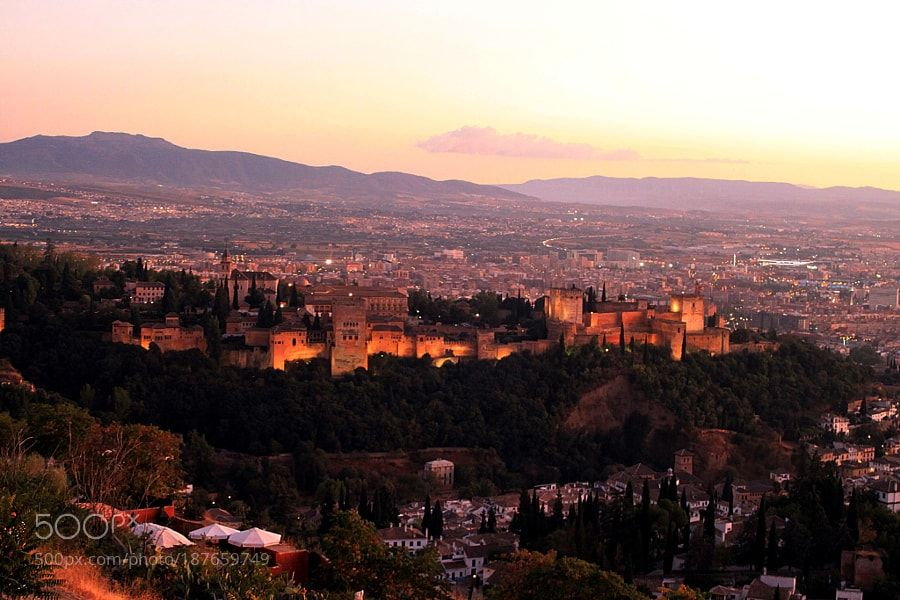 Alhambra and the sunset by jude395