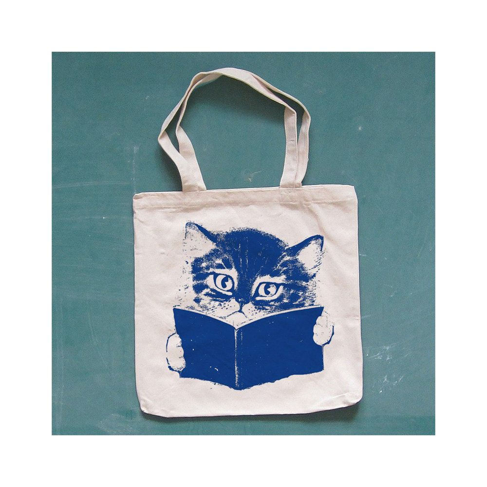 FURST EDITION canvas tote. cat. natural.. $12.00, via Etsy.