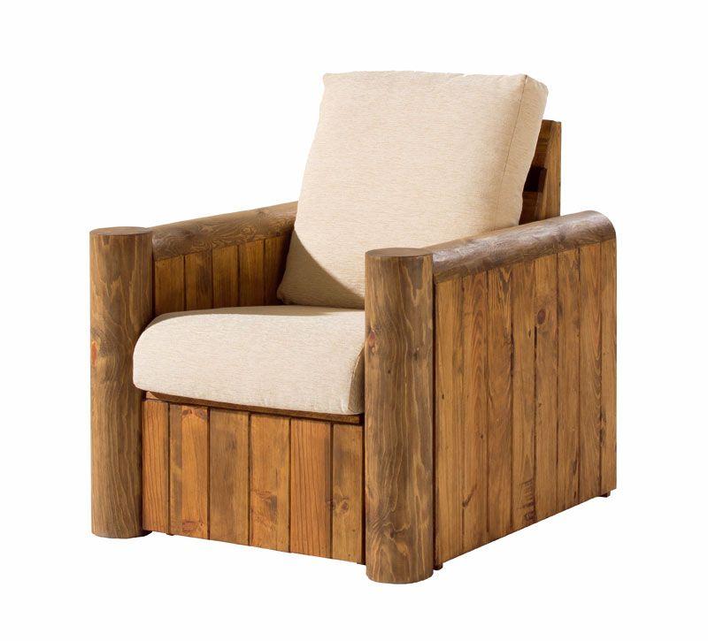 Sillon sofa 1 plaza rustico con cojin muebles rusticos for Sillones de madera reciclada