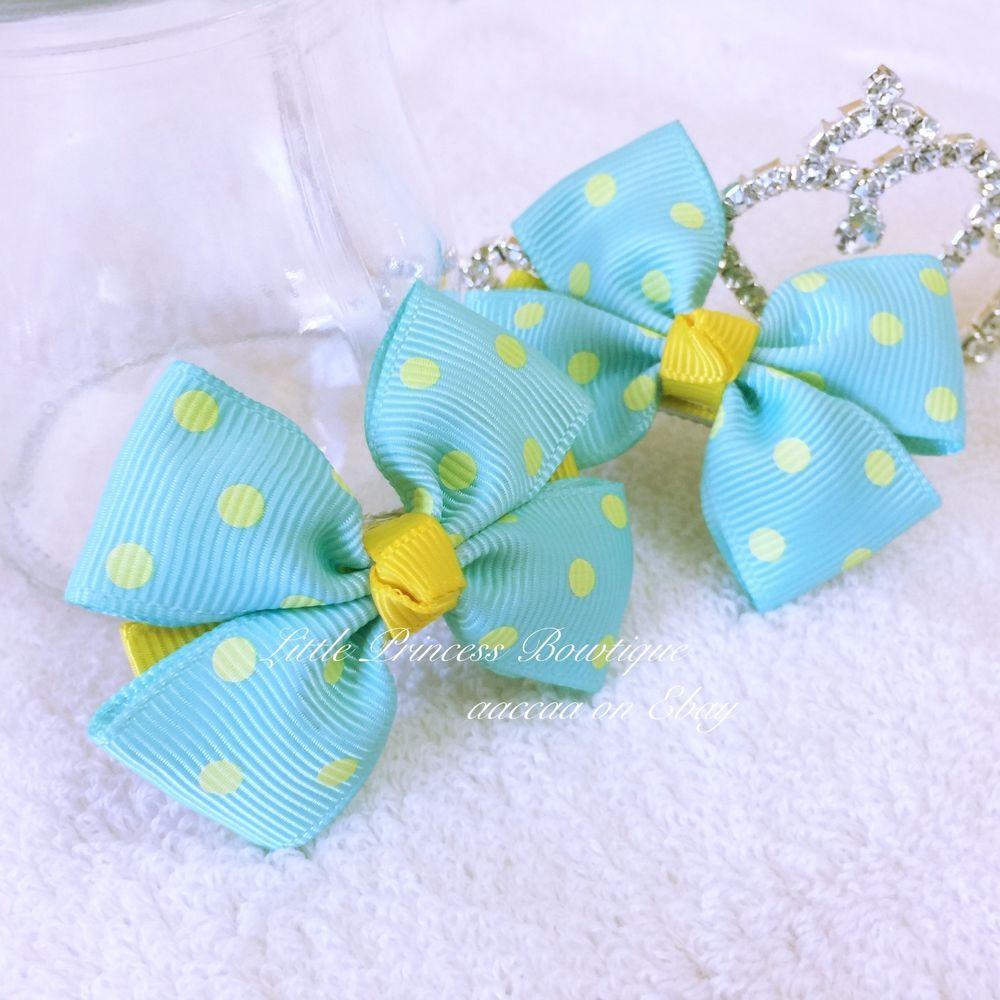 Girl Hair Bow Pair Grosgrain Dot Ribbon Alligator Clip Handmade Blue Yellow  #Handmade