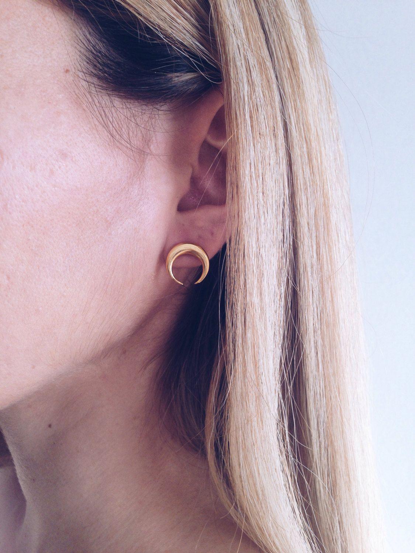 Body piercing earrings  Moon earringsgold earringsStuds earringsgold Moon earringsGold
