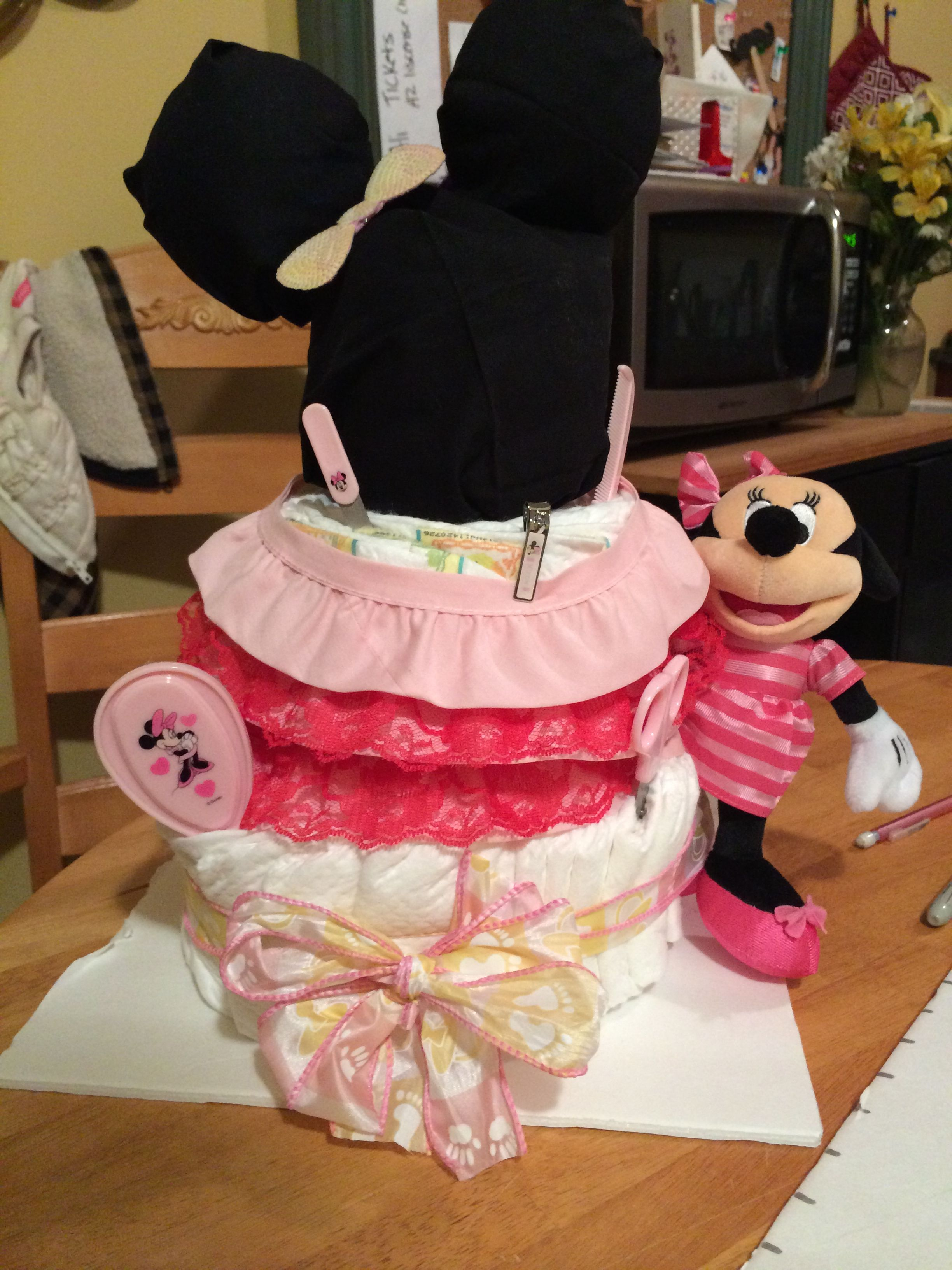 Minnie Mouse Diaper cake #babyshower #diapercake #personalizedonsies #personalized #blingedout #bling