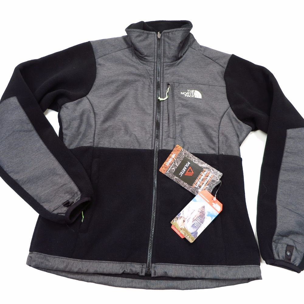 ad5d2144f5a0  179 North Face Women s Denali Jacket Size Small Black Grey Heather ...