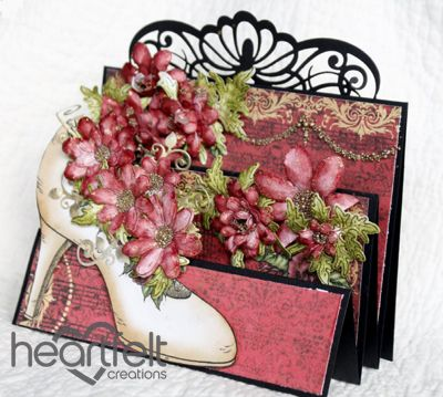 Heartfelt Creations | Flip Fold Shoe With Red Blooms