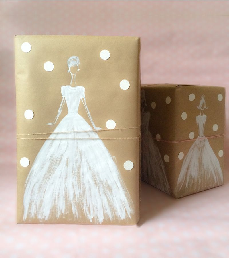 Wedding Gift Paper: White Ink And Kraft Paper